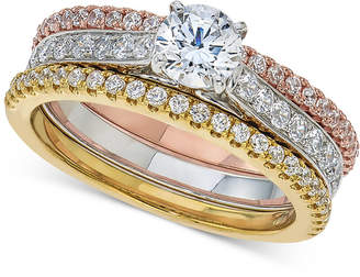 Macy's Diamond 3-Pc. Bridal Set (1-1/3 ct. t.w.) in 14k White, Rose and Yellow Gold