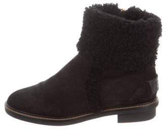 Fendi Shearling-Lined Ankle Boots Black Shearling-Lined Ankle Boots