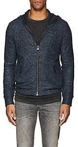 John Varvatos MEN'S COTTON-LINEN ZIP-FRONT HOODIE-BLUE PAT. SIZE S