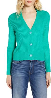 Halogen Ribbed V-Neck Cardigan