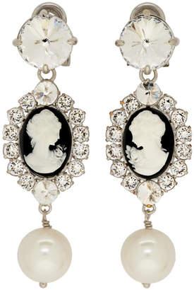 Miu Miu Black and Silver Cameo Clip-On Earrings