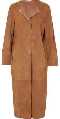 Yves Salomon Reversible Leather And Suede Coat - Brown