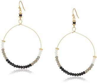 Canvas Glass Bead Hoop Drop Earrings