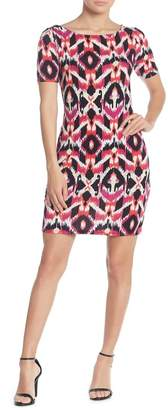 Loveappella Fitted Cross Back Geo Print Dress