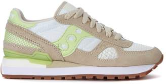 Saucony Shadow Beige Suede, White Mesh And Green Leather Sneakers