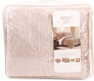 5pc Crushed Velvet Comforter Set