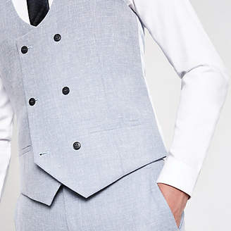 River Island Light blue suit waistcoat