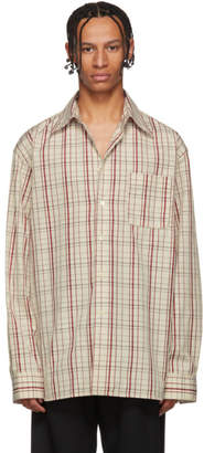 Marni Off-White and Red Check Shirt