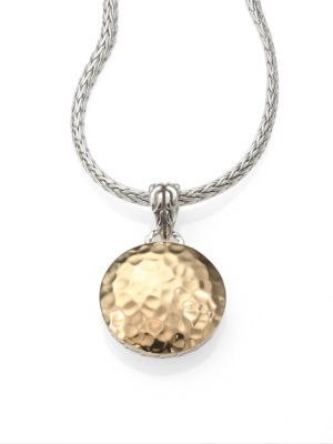 John Hardy 18K Yellow Gold & Sterling Silver Hammered Disc Necklace $695 thestylecure.com