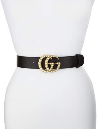 Gucci Smooth Leather Belt w/ Pearlescent Beads, Black