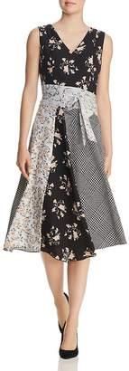 Calvin Klein Belted Mixed-Print Dress