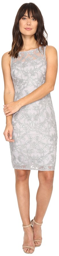 Adrianna PapellAdrianna Papell - Falling Vines Sequin Embroidery in Basic Sleeveless Sheath Dress Women's Dress