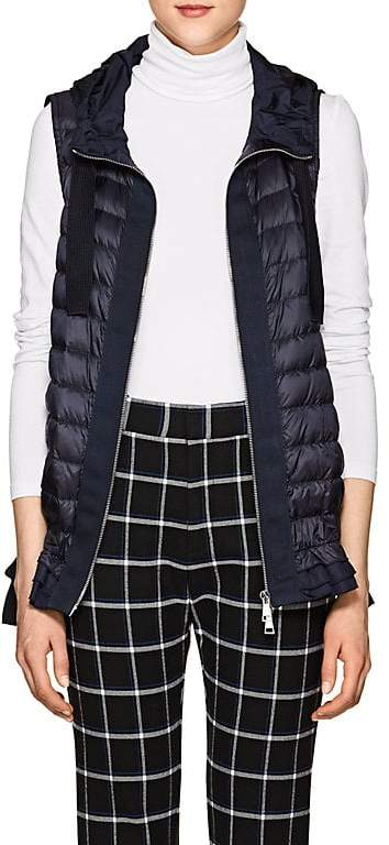 Women's Ruffled-Hem Down-Quilted Vest