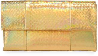 Nancy Gonzalez Gotham Small Metallic Python Snakeskin Clutch Bag