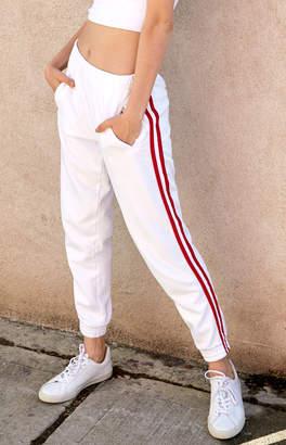 John Galt Side Stripe White Jogger Pants