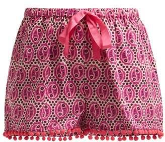 Figue Maja Geometric Print Cotton Shorts - Womens - Pink