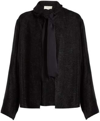 The Row Connie tie-neck tweed jacket