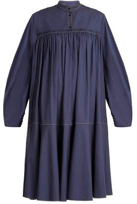 Roksanda Soraya Gathered Cotton Sateen Dress - Womens - Blue