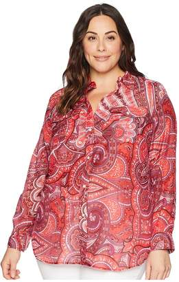 Lauren Ralph Lauren Plus Size Silk Cotton Voile Long Sleeve Shirt Women's Clothing
