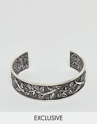 Reclaimed Vintage inspired bangle with emboss in silver exclusive at ASOS