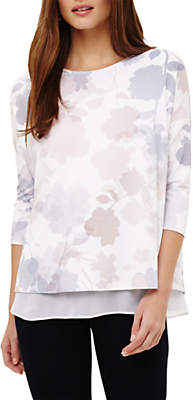 Phase Eight Shea Shadow Floral Print Top, Cream Ivory/ Multi