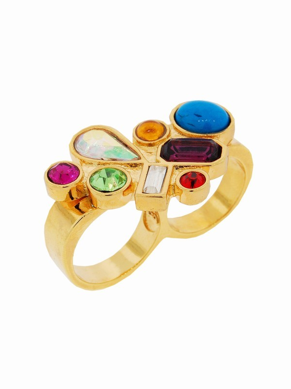 Erica Anenberg Crystal Chunk Twosome Ring