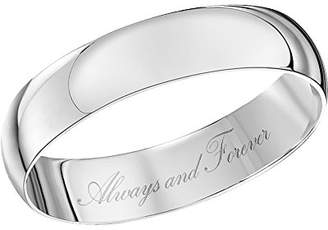 Theia Unisex 9 ct White Gold Heavy D Shape, Engraved Always and Forever, Polished 4 mm Wedding Ring - Size L