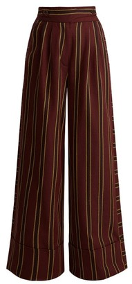 Palmer//harding - Striped Cotton Twill Wide Leg Trousers - Womens - Burgundy