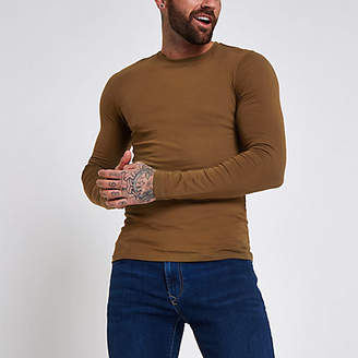 River Island Dark brown muscle fit long sleeve T-shirt