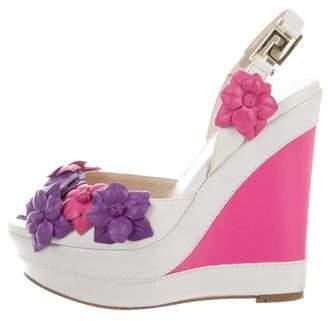 Versace Floral Wedge Sandals