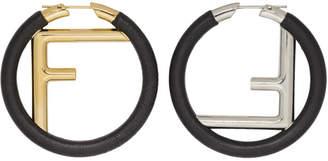 Fendi Black Large F Hoop Earrings