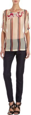 Dries Van Noten Varsity Stripe Embellished Chiffon Blouse