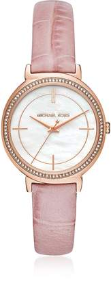Michael Kors Cinthia Rose Gold-Tone and Leather Women's Watch