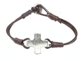 Camilla And Marc Neptune Giftware Metal Cross / Crucifix Leather Bracelet / Leather Wristband - (MAX WRIST SIZE 19.5 cm) - 2 COLORS AVAILABLE - BROWN LEATHER