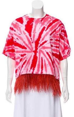 Opening Ceremony Feather-Trimmed Tie-Dye Top w/ Tags