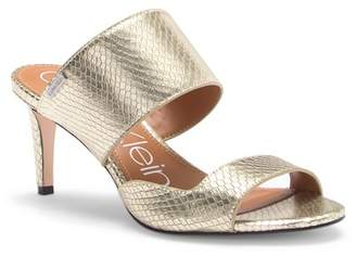 Calvin Klein Clementine Snake Embossed Leather Sandal