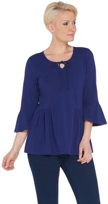 Denim & Co. Scoop Neck 3/4-Bell Sleeve Top w/ Shirring Detail