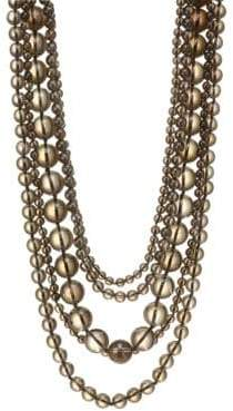 Kenneth Jay Lane Five Row Smokey Grey Beaded Necklace