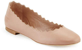 Chloé Lauren Scalloped Leather Ballet Flat