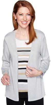 Alfred Dunner Women's Striped Lurex Mock-Layer Sweater