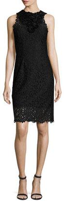 Elie Tahari Donna Sleeveless Jewel-Neck Lace Sheath Dress, Black $548 thestylecure.com