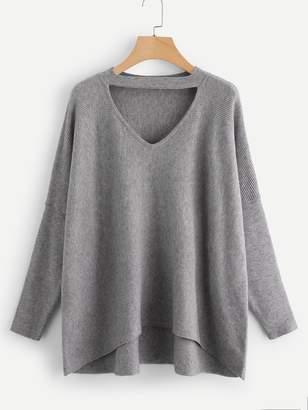 Shein Choker Neck Dip Hem Soft Knit Sweater