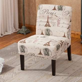 Roundhill Furniture Goodale Script Linen Print Fabric Armless Contemporary Oversize Accent Chair
