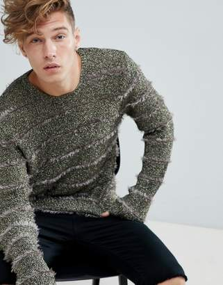 Asos Design Metallic Sweater With Fluffy Stripes In Gold