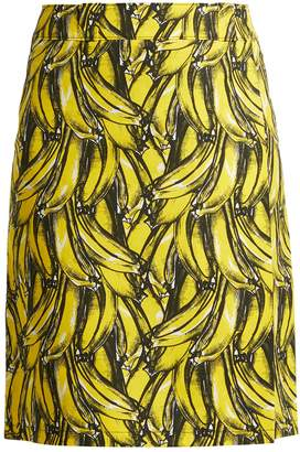 Prada Banana-print wrap cotton skirt