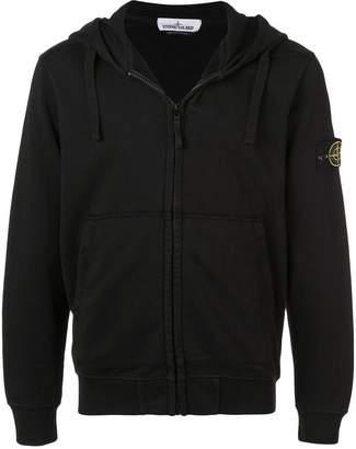 Stone Island logo zipped hoodie