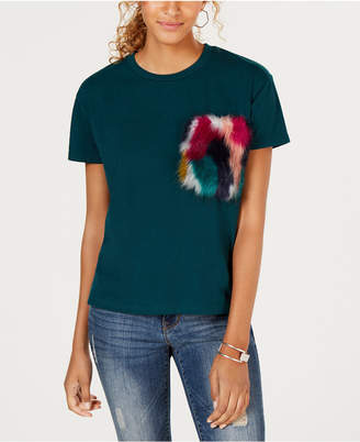 Say What Juniors' Faux-Fur-Pocket T-Shirt