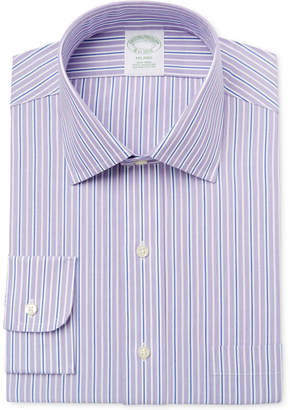 Brooks Brothers Men Milano Extra-Slim Fit Non-Iron Purple Striped Dress Shirt