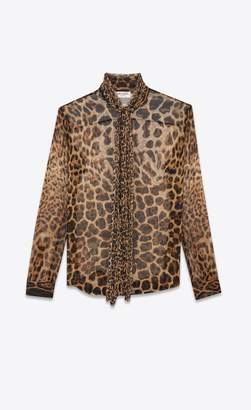 7e9499e0f3662 Saint Laurent Bow Tie Blouse In Leopard-Print Silk Chiffon