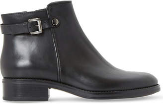 Dune Black Ladies Black Sophisticated Polley Buckle Leather Ankle Boots